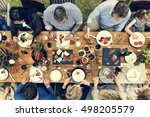 group of people dining concept | Shutterstock . vector #498205579