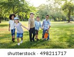 casual children cheerful cute... | Shutterstock . vector #498211717