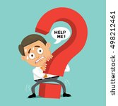 businessman with fear hiding... | Shutterstock .eps vector #498212461