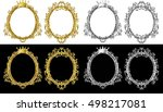 set oval frame of gold photo... | Shutterstock .eps vector #498217081