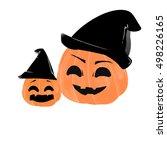 halloween pumpkin in witch hat | Shutterstock . vector #498226165