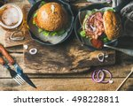 homemade beef burgers with... | Shutterstock . vector #498228811