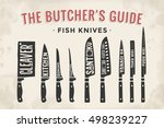 fish cutting knives set. poster ... | Shutterstock .eps vector #498239227