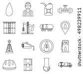 oil industry icons set. outline ... | Shutterstock .eps vector #498239911