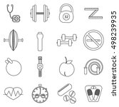 fitness icons set. outline