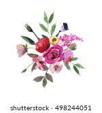 watercolor floral bouquet pink... | Shutterstock . vector #498244051