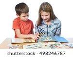 teen girl and little boy with... | Shutterstock . vector #498246787