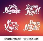 vector merry christmas card... | Shutterstock .eps vector #498255385