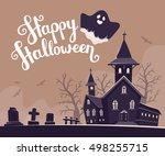 vector halloween illustration... | Shutterstock .eps vector #498255715