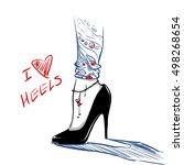 elegant beautiful woman legs... | Shutterstock .eps vector #498268654