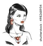 beautiful elegant woman wearing ... | Shutterstock . vector #498268954