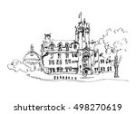doodle black and white ink... | Shutterstock . vector #498270619