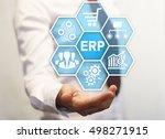 businessman offer honeycomb... | Shutterstock . vector #498271915
