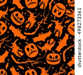 halloween seamless pattern with ... | Shutterstock .eps vector #498273361