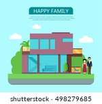 happy family in the yard of... | Shutterstock .eps vector #498279685
