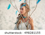 Beautiful Boho Woman Sitting O...