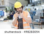 young manual worker wearing... | Shutterstock . vector #498283054