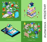 isometric educational concept.... | Shutterstock .eps vector #498287449