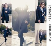 Small photo of Collage of autumn photos of girl posing in coat outdoors, instagram color philter