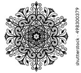 decorative lace round ornament. ... | Shutterstock .eps vector #498300379