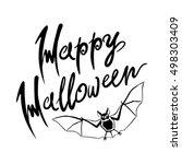 happy halloween bat message... | Shutterstock . vector #498303409