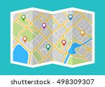 map with navigation. finding... | Shutterstock .eps vector #498309307