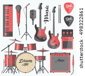 vector rock music instruments.... | Shutterstock .eps vector #498322861