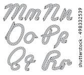 vector monochrome rope letters...   Shutterstock .eps vector #498332539