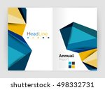 low poly annual report template | Shutterstock .eps vector #498332731
