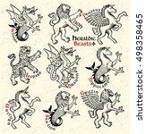 heraldic beasts.  vector... | Shutterstock .eps vector #498358465