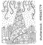 doodle pattern in black and... | Shutterstock .eps vector #498365779
