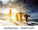 group snowboarders goes to... | Shutterstock . vector #498372109