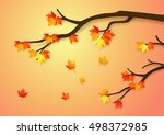 autumnal forest with falling... | Shutterstock .eps vector #498372985