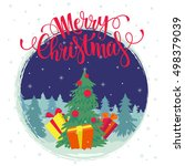 vector christmas card. merry... | Shutterstock .eps vector #498379039