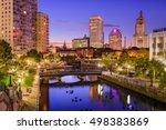 Small photo of Providence, Rhode Island, USA park and skyline.