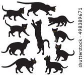Silhouettes Of Black Cats With...