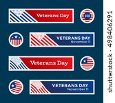 set of veterans day banners and ... | Shutterstock .eps vector #498406291
