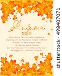 autumn sale poster with orange... | Shutterstock .eps vector #498407071