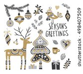 christmas hand drawn set with... | Shutterstock .eps vector #498407509