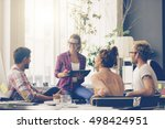 young business people working... | Shutterstock . vector #498424951