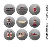 set of vector icons of marine. | Shutterstock .eps vector #498431059