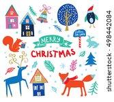 christmas cartoon set. vector... | Shutterstock .eps vector #498442084