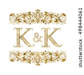 k and k vintage initials logo... | Shutterstock .eps vector #498444061