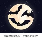 cute flying and smiling bats.... | Shutterstock .eps vector #498454129