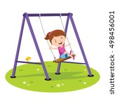 cute girl playing on swing | Shutterstock .eps vector #498456001