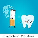 tooth and cigarette characters. ... | Shutterstock .eps vector #498458569