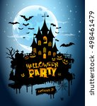 halloween poster  night... | Shutterstock .eps vector #498461479