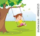 little girl on swing under a... | Shutterstock .eps vector #498461515