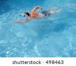 This is a shot of a man swimming in some crystal clear water. - stock photo