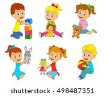 kids with toys collection... | Shutterstock .eps vector #498487351